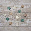 Pack of 12pc wooden Star shaped card topper embellishments, 4 each of green, white & natural, as shown