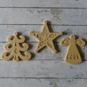 Set of 3 Decorations, Angel, Tree & Star