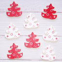 Pack of 8 Wooden Christmas Tree shapes, painted red & white as shown, with self adhesive pad