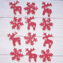 Pack of 12 Wooden Reindeer & Snowflake, painted dark red, as shown, with self adhesive pad