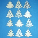 Pack of 12 Wooden Christmas Tree shapes, unpainted, 4 different designs as shown