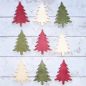 Pack of 9 Wooden Christmas Tree Shapes, red, green, & natural, as shown