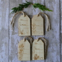 Pack of 4 Wooden Christmas Gift Tags with different designs on each