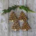 Pack of 4 Natural  Wooden Fretwork Christmas Tree Shapes