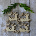 Pack of 4 Natural Wooden Reindeer Shapes