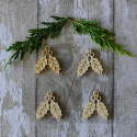 Pack of 4 Natural Wooden Holly Shapes