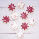 Pack of 10 red & white Christmas Star shapes