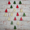 Pack of 18 Mini Christmas Tree Shapes, red, green, natural