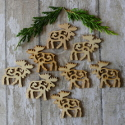 Pack of 8 Natural wooden Fretwork Reindeer shapes