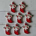 Pack of 8 Father Christmas in Stocking shapes