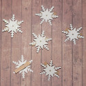 Pack of 6 White Glitter Snowflake on Peg decorations
