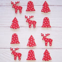 Pack of 12 Wooden Card Topper decorations, Reindeer, Tree, & Bell in Red with white Stars as shown