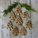 Pack of 8 Natural Wooden Fretwork Christmas Tree Card topper decorations,4 each of 2 designs, as shown