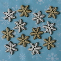 Pack of 12 wooden Snowflake no.2 card topper decorations 6 white, 6 cream as shown