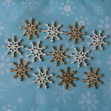 Pack of 12 wooden Snowflake card topper decorations, 6 white, 6 cream as shown