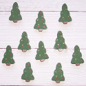 10 wooden Christmas Tree card topper decorations, painted green, as shown