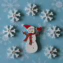 Wooden Snowman & 7 snowflakes with diamante at centre, card topper decorations