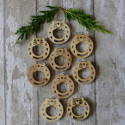 Pack of 9 natural wooden Christmas wreath shape embellishments