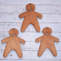 Set of 3 Plywood Gingerbread men decoration with hole for hanging