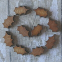 Set of 8 Plywood mini Holly Leaf decorations