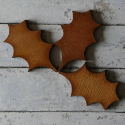 Set of 3 Plywood Holly Leaf decoration