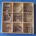 Box of 27 Christmas shapes (3 each of 9 designs)  Star, Robin, Tree,Houses