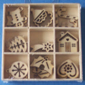 Box of 27 Christmas shapes (3 each of 9 designs ) Holly,Candy cane,Tree, bauble, Star, gingerbread man,heart, house, Father Chri