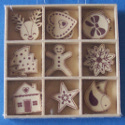 Box of 27 Christmas shapes (3 each of 9 designs)Reindeer,Robin,Tree, bauble, Star, gingerbread man,heart, house, Snowflake