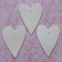 Set of 3 Hearts (with holes for hanging)