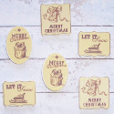 Pack of 6 Wooden Vintage Style Christmas Embellishments sentiments