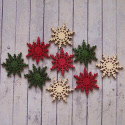 Pack of 9 Wooden Christmas Snowflake, red, green & natural, 3 of each, as shown