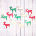 Pack of 12 Wooden Christmas Reindeer, red, green & natural, 4 of each, as shown