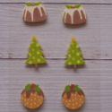 Pack of 6 Wooden Christmas shapes, 2 trees & 4 Puddings, as shown