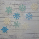 Pack of 9 wooden Christmas Snowflake shapes 3 each Blue turquoise & white, 3 different patterns, as shown