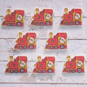 Pack of 8 wooden Father Christmas on train shape embellishments card topper