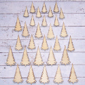 Pack of 30pc Natural Wooden Christmas Tree shape Embellishments 10 each of 3 sizes