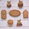 Pack of 7 Card Vintage Style Christmas Pudding & Sentiments Embellishments, decoration