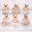 Pack of 6 Vintage Style Card & Hessian Christmas Pudding Shape embellishments, 2 designs, as shown