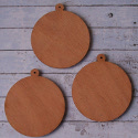 Set of 3 Wooden Christmas tree Baubles with hole to hang
