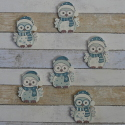 Pack of 6 Wooden Snowy Owl card topper decorations, blue / turquoise 3 each of 2 designs