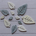 Pack of 12 wooden Leaf  Scandi style card topper decorations, 3 sizes grey white cream