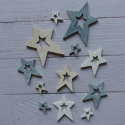 Pack of 12 wooden  Star Scandi style card topper decorations, 3 sizes grey white cream