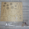Mini Christmas  Decoration Kit, Trees House & Reindeer to assemble & paint. No glue required. Not suitable for children under 3