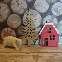 Pack of 3pc Christmas shapes wooden House and tree, with Polar bear