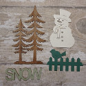 Wooden Christmas snowman decoration set of 4pc, as shown