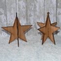 Set of 2 3d star decoration Christmas Tree ornament dark plywood