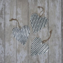 Set of 3 large corrugated metal hearts with string to hang