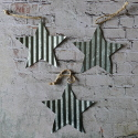 Set of 3 Corrugated Metal Star shape decorations with string to hang